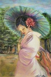 Drive a Geisha mit Sonnenschirm. Harry Cott