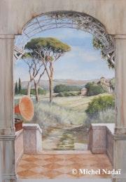 Trompe-l'oeil Mural - Le Gramophone. Atelier Nadaï