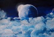 La lune sur les nuages.