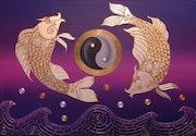 Asia pescado perla de Asia de perlas en agua Feng Shui.