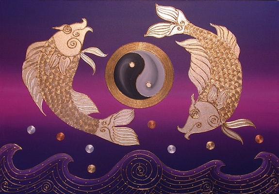 Asia pescado perla de Asia de perlas en agua Feng Shui. Pans Beautifulart