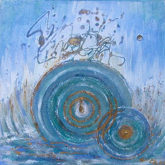 Wasserkraft Auarell auf Sand und Leinwand inspiriert von Hildegart von Bingen.  Ailyn