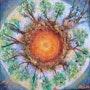 Madre Tierra Acuarelas sobre lienzo inspirado en la arena y Hildegart de Bingen. Ailyn