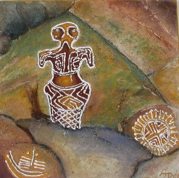 Archaische Felsgöttin ispiriert von Felsmalereien mit Erdpigmenten gemalt.  Ailyn