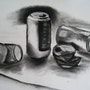 Cans (Coke and others) Study in charcoal. Pierre Cargoët