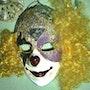 La máscara de payaso de Joker en yeso ... .... Techniques Mixtes