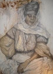 Negro mujer en la región de Tebessa. Siam