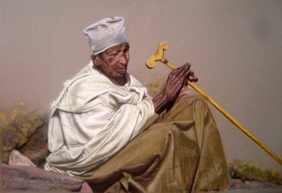 Ethiopian pilgrim meditation (from a photo by G. Gall). Michèle Duretête-Brodel Michèle Duretête-Brodel