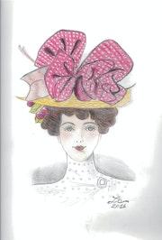 """Mujer con sombrero con lazo rojo con lunares blancos puntos - """"Diana""""."""