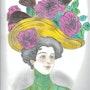 "Mujer con sombrero de rosas - ""Lucille"". Lc"
