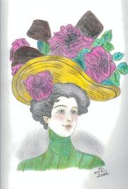 """Mujer con sombrero de rosas - """"Lucille""""."""