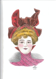 """Woman in red velvet hat and brown - """"Peau d'Ane""""."""
