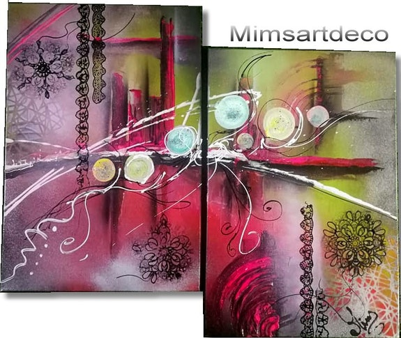 Abstrakte Bilder Moderne Deco Uhr. Mims Mimsartdeco