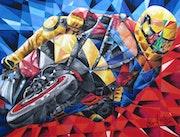 Motorradrennen - In Kurvenlage.