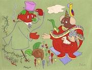 """Skizzen zu illustrieren Kinderbuch """"Geschichte einer Vogelscheuche"""". Dulac (Jean Dulac Fils)"""