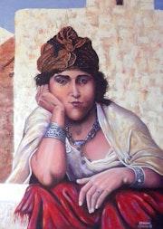 Frau auf Balkon. Samir Osmane