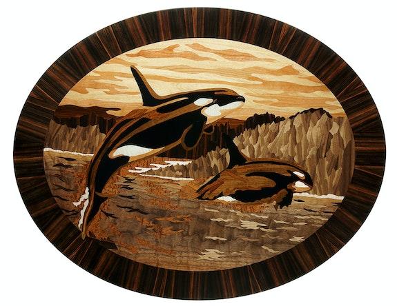 Orcas - art marquetry. Grzegorz Czarnecki Marquetry
