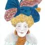 """Mujer con sombrero azul, con dos manchas blancas en las hojas - """"Milly-Meyer"""". Lc"""