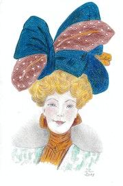 """Mujer con sombrero azul, con dos manchas blancas en las hojas - """"Milly-Meyer""""."""