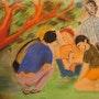 Les garçons jouent aux billes sous l'arbre. Omer Haluk Yilmaz