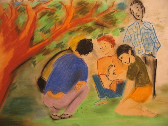 Boys Playing Marbles under the Tree.  Omer Haluk Yilmaz