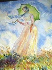 Girl with a Parasol, Claude Monet copy after. Diana. K