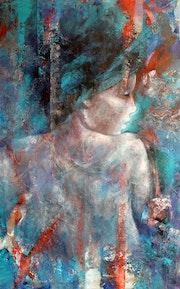 Portrait femme en bleu.