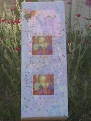 Canvas portraits, pink background, blue violet! ! ! ! ! ! ! !. Lily Malapel