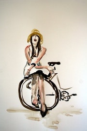 Woman cycling.