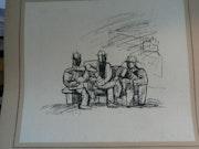 Tres hombres sentados. Dominique Braconnier