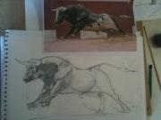 Study watercolor bull. Forangeart F. Baldinotti Peintre De l'air