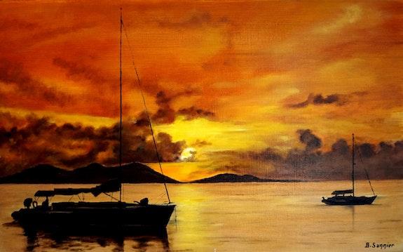 Coucher de soleil en méditerranée. B. Sannier Bernard Sannier