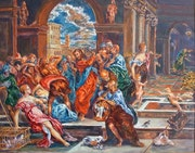 Jesus chasing the merchants from the temple. Alexis Guy Korovine