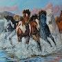 Pferde der Überquerung des Flusses. Rafael Del Santo