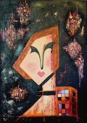 Selfportrait fawn Artdeco representing the artist Sonia Mandel.