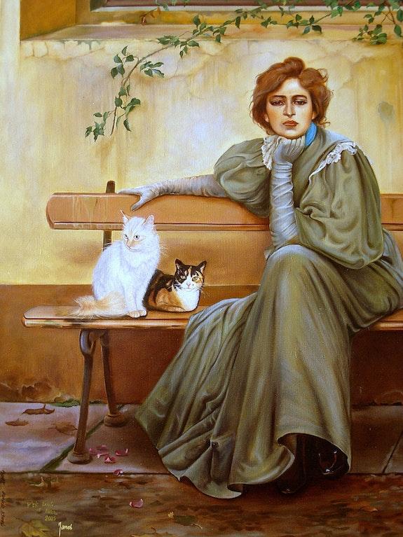 Eine Frau auf einer Bank mit meinem kleinen Stück und Kinou. Maire James James
