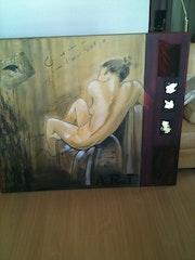 El baño (aceite, arena, collage y pan de oro). Nicole Armengol