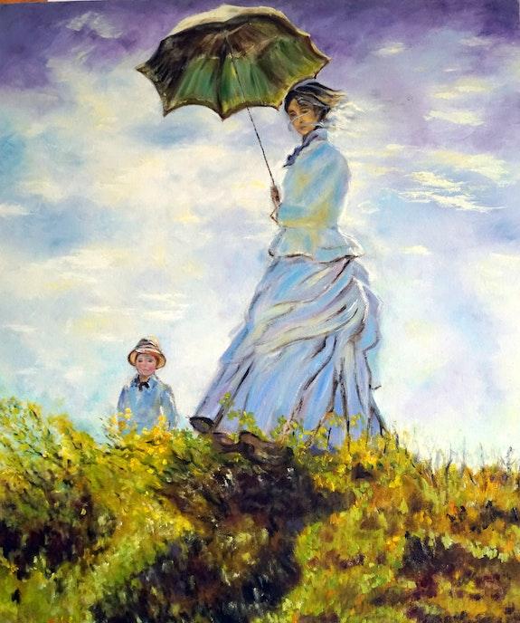 Mujer con Sombrilla. D'après Claude Monet (Artiste Français- 1840-1926) Bernard Sannier