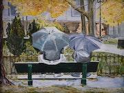 Regen auf der Park-. Gérard Duchêne