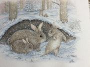 Die Freude an Kaninchen im Schnee.
