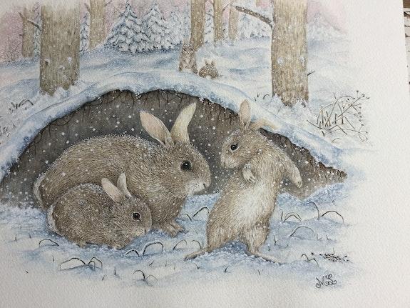 Die Freude an Kaninchen im Schnee.  Douceur Pastelle