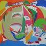 La pintura abstracta inspirada: óleo sobre lienzo:… Opera Comique. Ily Maï Blue