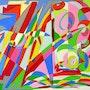 Abstract painting, oil on canvas: Central Park's Secret. Ily Maï Blue