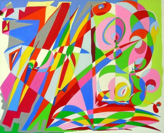 Abstract painting, oil on canvas: Central Park's Secret. Ily Maï Blue Ily Maï Blue
