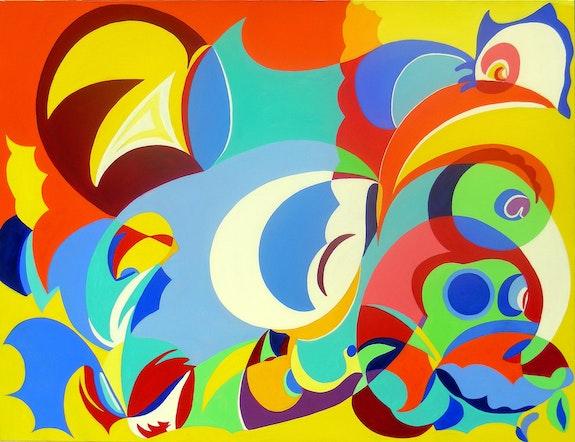 Abstract painting, oil on canvas: Legend. Ily Maï Blue Ily Maï Blue