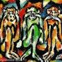 Three Monkeys - pintura original - Jacqueline_Ditt. Universal Arts Galerie Studio Gmbh