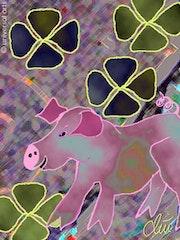 Gluecksschwein - limitierte Original Grafik - Jacqueline_Ditt. Universal Arts Galerie Studio Gmbh