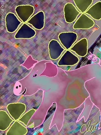 Luck Pig - limited original graphic - Jacqueline_Ditt. Jacqueline Ditt Universal Arts Galerie Studio Gmbh