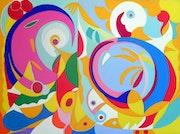 Abstrakte Malerei, Öl auf Leinwand: Tanz….