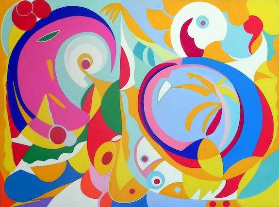 Abstract painting, oil on canvas: Dance…. Ily Maï Blue Ily Maï Blue
